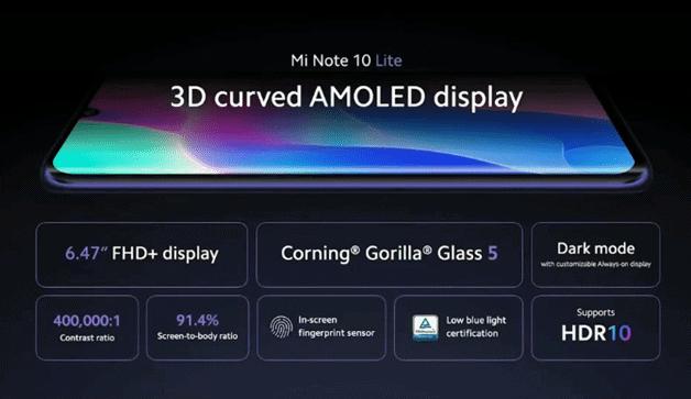 "Machine generated alternative text: Mi Note 10 Lite 3D curved AMOLED display 6 47"" FHD+ display Corning' Gorilla' Glass 5 400.000:' 91.4% Dark mode HDR10"